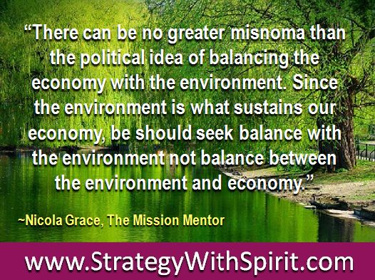 """""""There can be no greater misnoma than the political idea of balancing the economy with the environment. Since the environment is what sustains our economy, be should seek balance with the environment not balance between the environment and economy."""""""