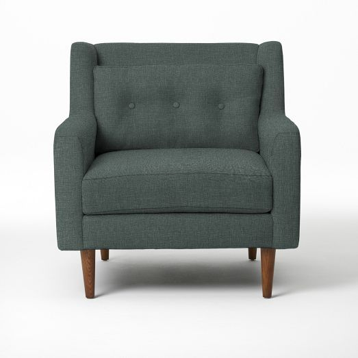 love the idea of keeping a throw over the back of the chair between the back pillow. Crosby Armchair - Solids | West Elm