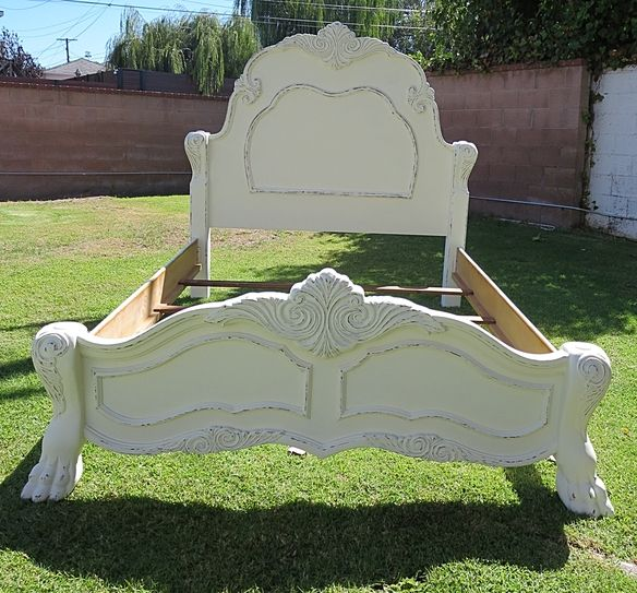 shabby chicfrench provincial queen bed framewhite in playa del rey los angeles - Bed Frames Los Angeles