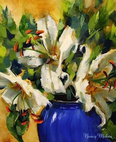 Blue Monday Lilies Step by Step by Texas Flower Artist Nancy Medina, painting by artist Nancy Medina