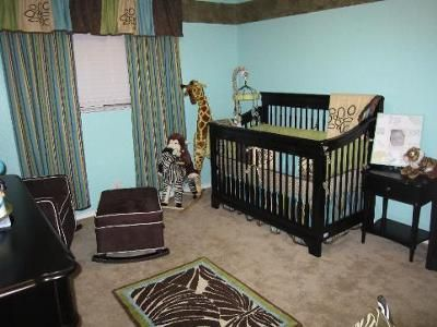 Safari Nursery: I got the idea for the safari nursery from the bedding collection Cocalo Couture Bali. After purchasing the bedding I picked the teal color of the wall