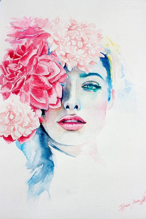 Aquarell-Druck. Wand Kunst Portrait schöne von TatyanaIlieva – Annett