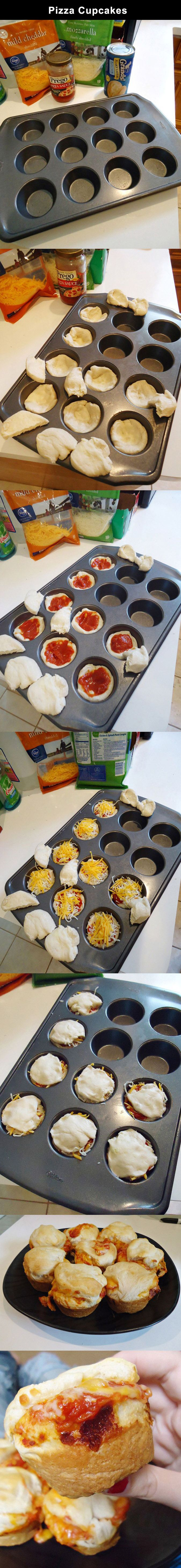 Pizza Cupcakes - #Cooking, #Pizza