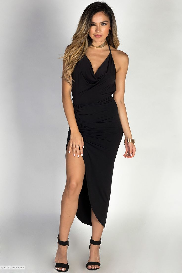 Backless Draped Halter Little Black Dress with Thigh High Slit