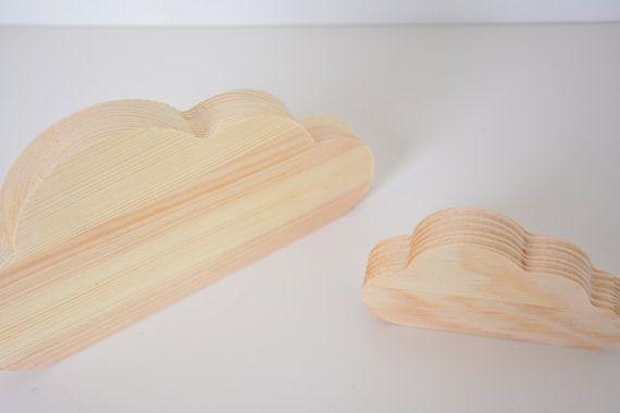 set of 2 wooden cloud shape large and small wall by ColoriCrafts
