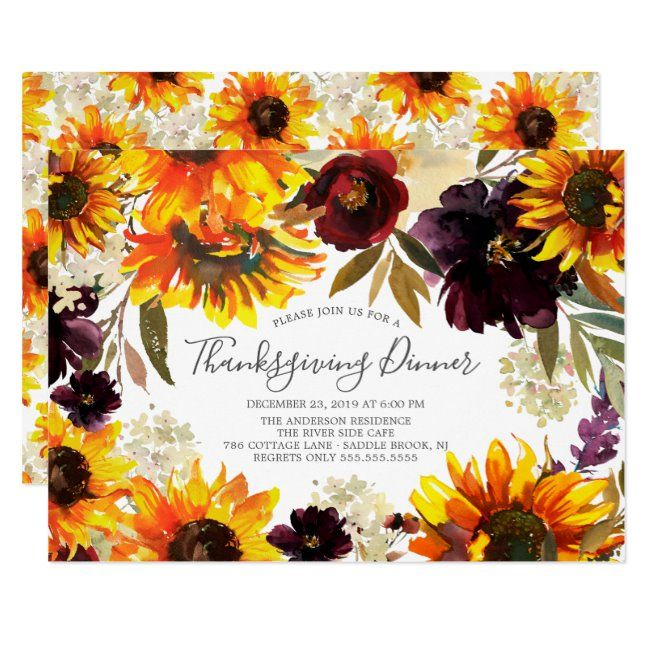 Autumn Sunflower Floral Thanksgiving Dinner Party Invitation Zazzle Com In 2020 Dinner Party Decorations Dinner Party Invitations Thanksgiving Dinner Party