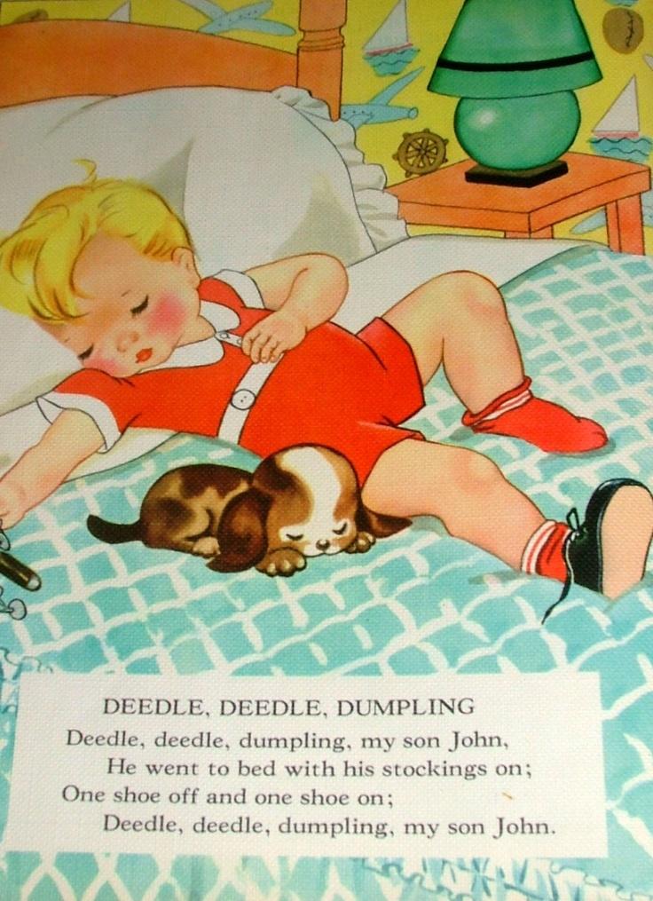 Deedle, Deedle, Dumpling ... Vintage Linen Nursery Rhymes Book