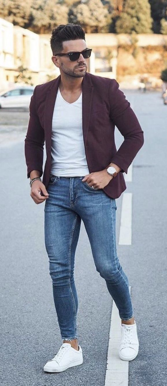 2dd6d7fd89 Summer business casual combo inspiration with a white v-neck t-shirt plumb  blazer black framed ray ban sneakers blue jeans wrist accessories plumb  banded ...