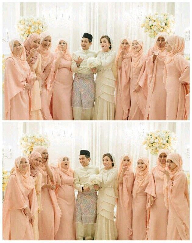 Group photo with the bridesmaids. Bridal wear by Innai Red