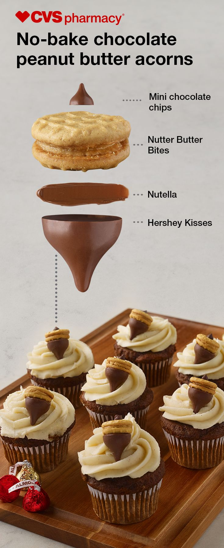 Add some fall flair to otherwise ordinary cupcakes by topping them with no-bake chocolate peanut butter acorns. Just spread some Nutella on a Nutter Butter Bite, then press on a Hershey's Kiss. Add a mini chocolate chip on the other side for the acorn stem. Finally, pop them into the fridge to allow them to harden before setting them on top of your cupcakes! Get everything you need to make this sweet Thanksgiving treat at CVS Pharmacy®.
