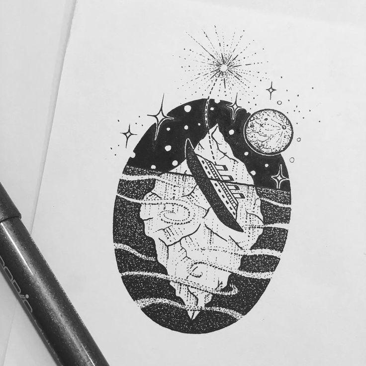 15-04-1912 #titanic #sinking #iceburg #moon #ocean #night #stars #flare #drawing #illustration #stippling #dotwork #linework #fineliner #copic #blackpen #iblackworkers #flash #flashaddicted #tattoo #design #sketchbook #graphicdesign #art #canberra #blackandwhite