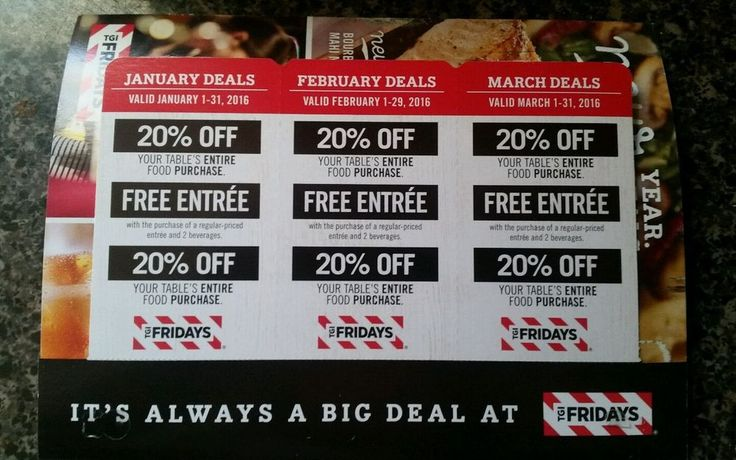 TGI Fridays Coupons LOT of 9 20%off Entire Food Purchase+bonus entrees exp March
