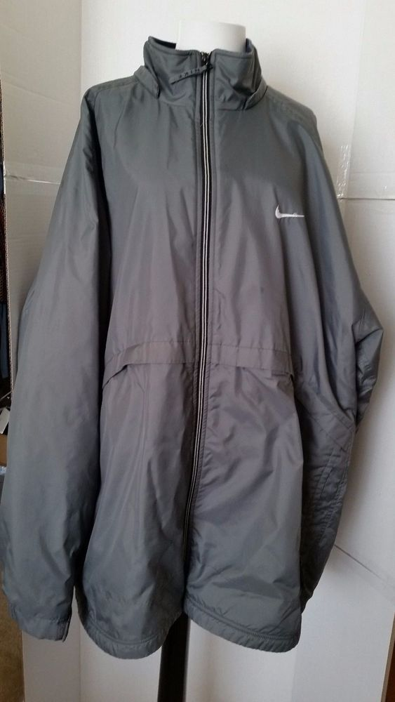 NIKE Coat Mens Golf Zip up Fleece Lined Parka Waterproof Grey XXL 2XL #Nike #BasicCoat