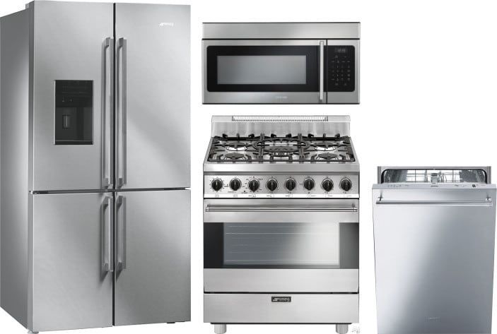 Smeg Smreradwmw1 4 Piece Kitchen Appliances Package With French Door Refrigerator Gas Range Dishwasher And Over The Range Microwave In Stainless Steel Kitchen Appliance Packages Kitchen Appliances French Door Refrigerator