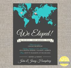 elope announcement and reception invitation by yellowbrickstudio