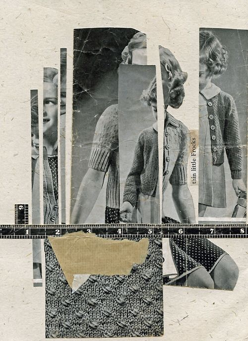 """Double Knits,"" FORTUNE collage (30 minutes or less), 2013. Paper thanks to Dan and Tina Daughters."