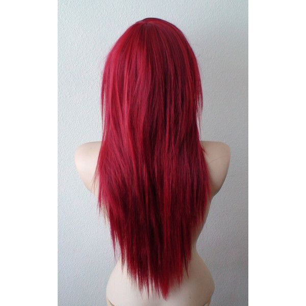 Wine Red Wig Long Straight Hairstyle Wig Durable Heat Friendly... ($118) ❤ liked on Polyvore featuring beauty products, haircare, hair styling tools, hair, hairstyles, beauty, makeup, red and filler