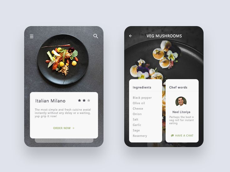 Mockups for review, it resembles dish screen and its detail which shows ingredients and chef quote  :)
