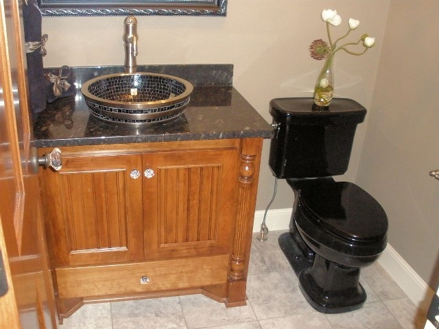Check Out This Sink! Powder Room With Stunning Vanity Details, Granite  Countertop And Black Toilet
