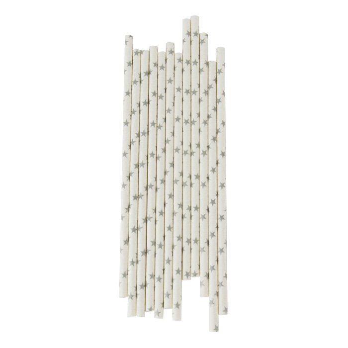 <p>Deze papieren rietjes met zilveren sterren zijn perfect om je drankjes hip te serveren.</p>