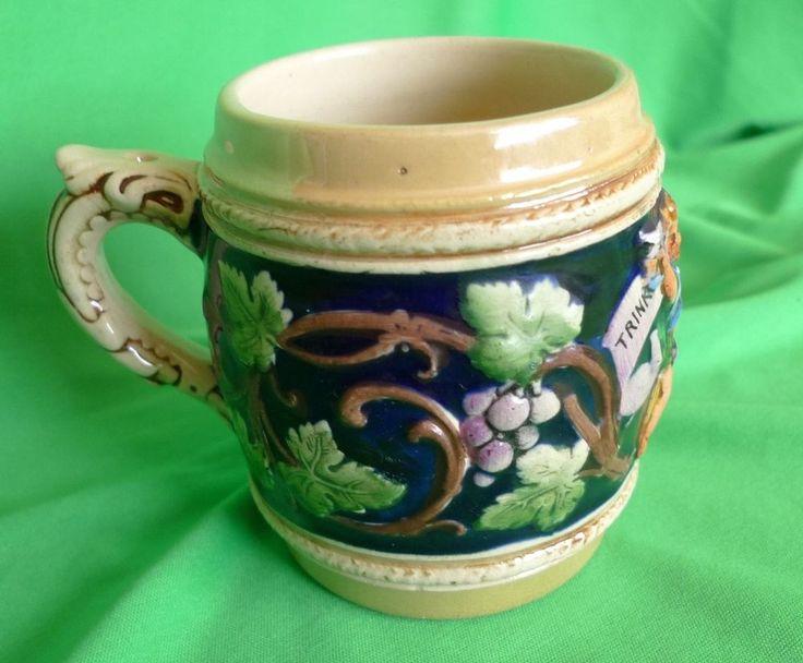 "Vintage Germany German pottery BEER MUG - Fabrikmarkt Foreign "" Trink klar ist """