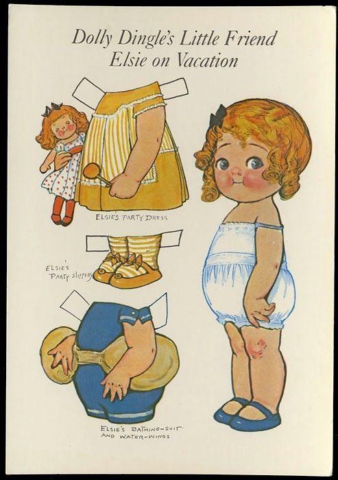 DOLLY DINGLE PAPER DOLL Friend ELSIE Party Dressl BEACH Costume POSTCARD 1985