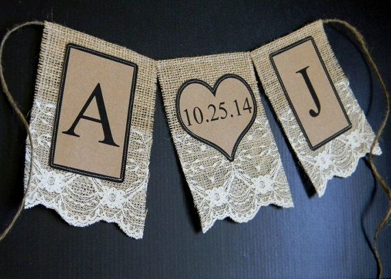 Burlap Save The Date Banner Ivory Lace Sign Initials & Date Bunting Flags Wedding Garland Photo Prop