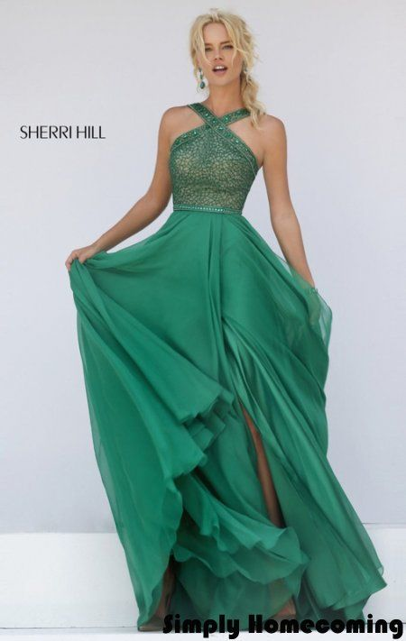 2016 Emerald Beaded Halter Neck Gown by Sherri Hill 11319