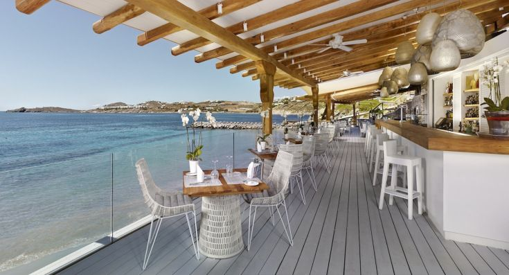 Greece Beach Bars – BayView Beach Restaurant  Bar, Santa Marina Resort  Villas, Mykonos