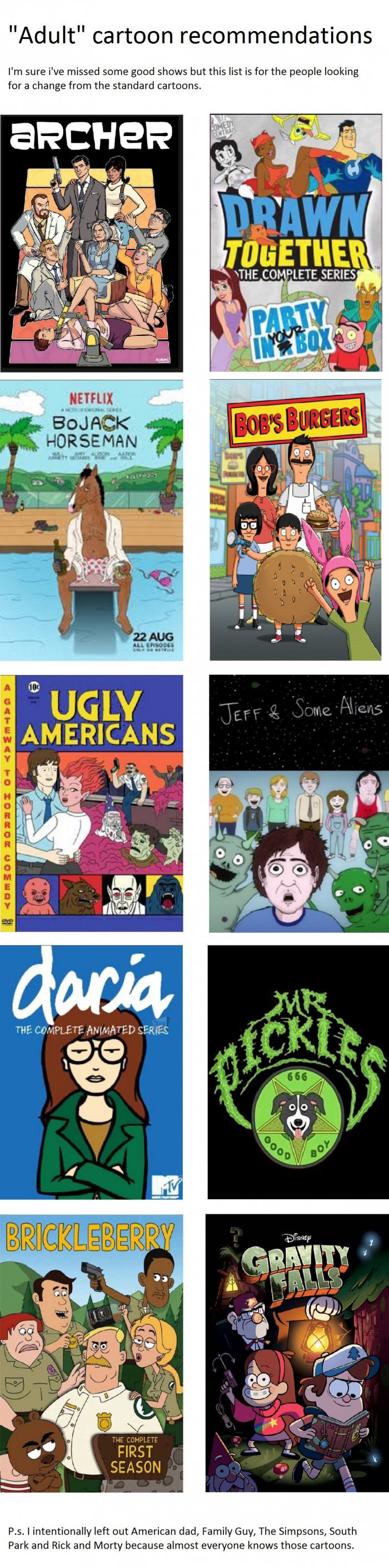 """Adult"" cartoon recommendations"