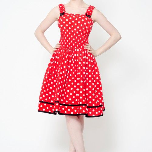 Cotton jumperskirt with polka dot prints