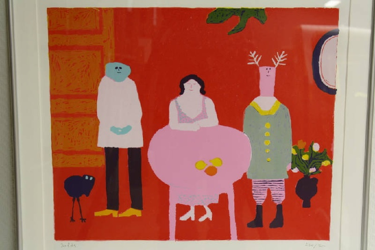 Figuren in rode kamer (figures in red room). Jan Roëde (1914-2007).