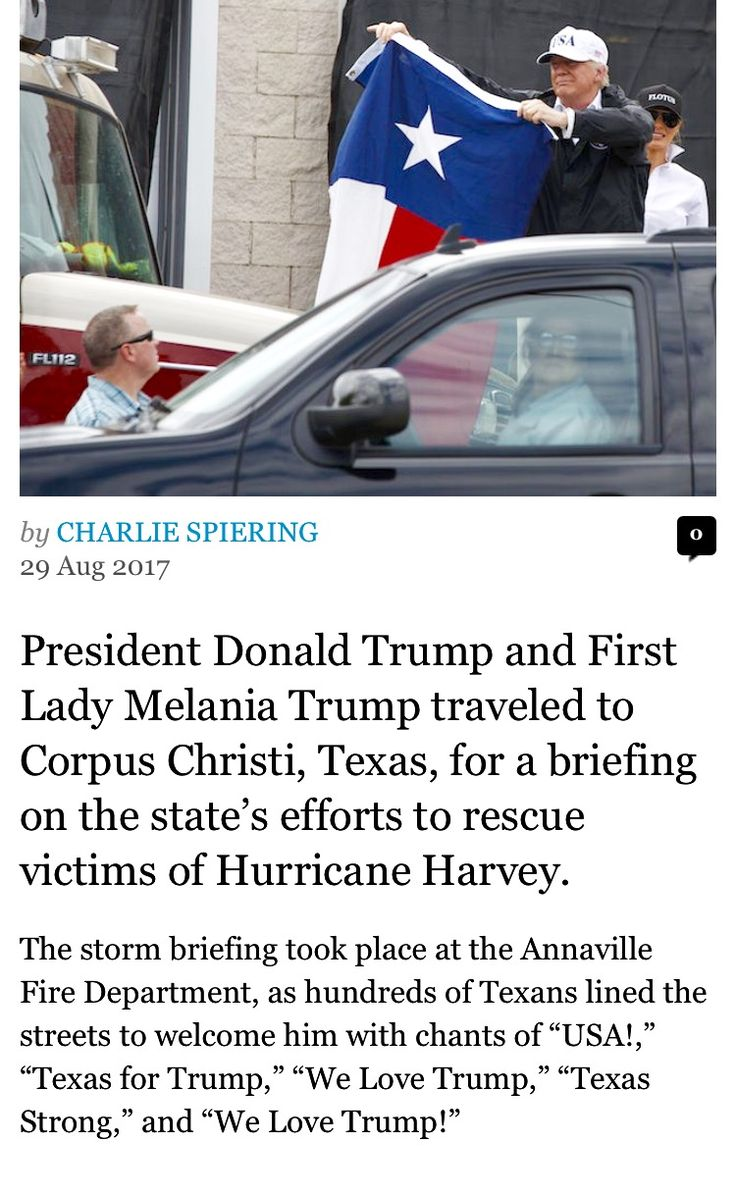 President Donald Trump helping the victims in South East Texas that were flooded by hurricane Harvey on the last week of August 2017.