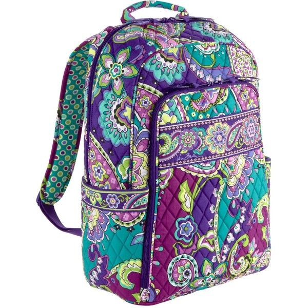 Vera Bradley Laptop Backpack in Heather ($55) ❤ liked on Polyvore featuring bags, backpacks, accessories, heather, canterberry magenta, colors, backpacks bags, top handle bag, zipper bag and padded backpack