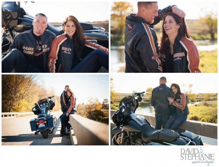 Autumn Engagement Session with Harley Motorcycles | © DavidandStephanieWeddings.com | Northern Illinois - Rockford Wedding Photographers