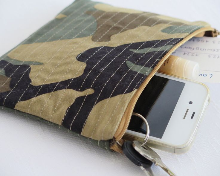 Khaki camouflage quilted fabric purse, Handmade rustic fabric pouch, Phone pouch, Change wallet by sewingfairydust on Etsy