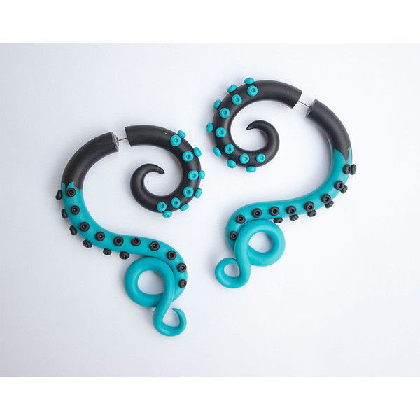 Blue black octopus Turquoise octopus Fake gauges Fake ear plug... ($26) ❤ liked on Polyvore featuring jewelry, earrings, summer earrings, blue earrings, octopus earrings, imitation jewellery and octopus jewelry