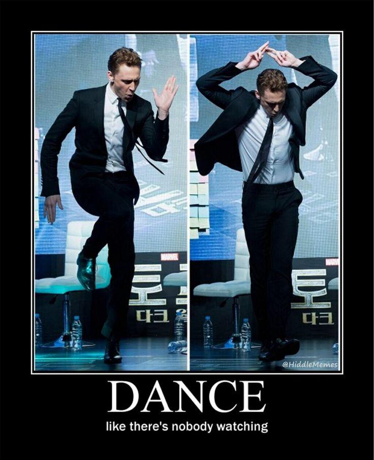 Tom Hiddleston dancing Snake Hips Don't Lie Pinterest