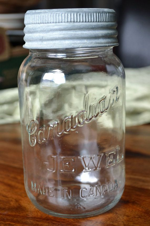 antique canadian jewel canning jars with zinc lid and glass top