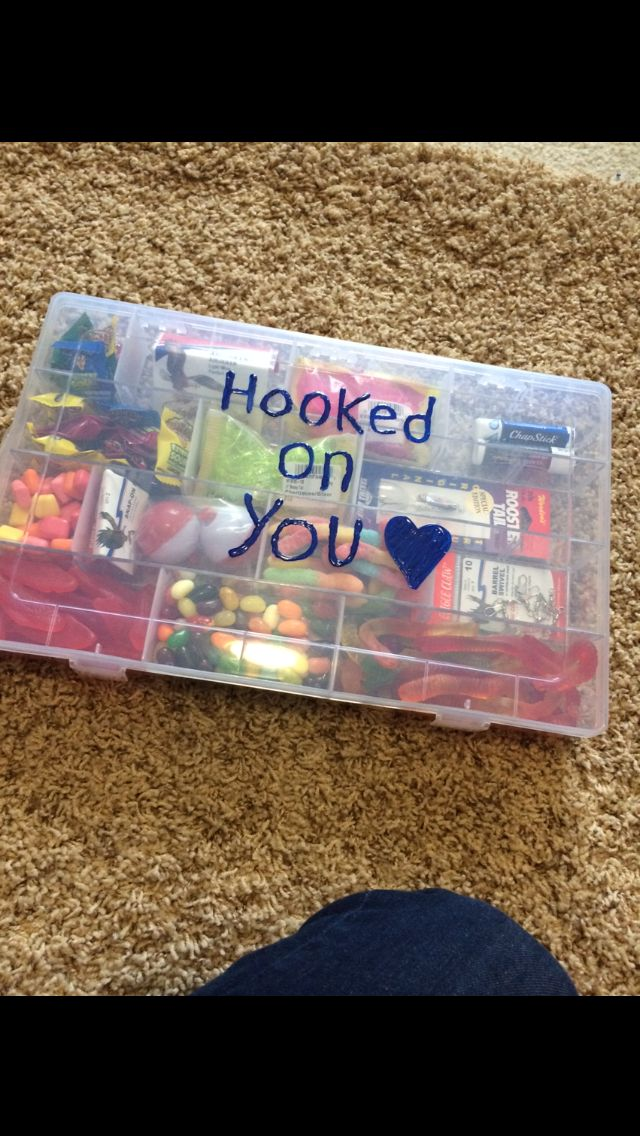Great gift for boyfriend who loves to fish! Hooked on you tackle box filled with candy and fishing supplies. Anniversary idea or valentines day gift.