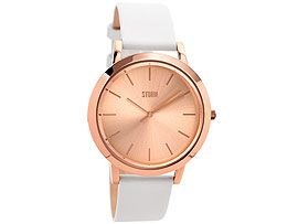 Storm 'Evella' Rose Gold Stainless Steel White Leather Strap Watch from F Hinds - a gift that will last forever.
