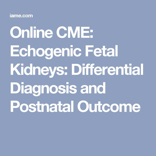 Online CME: Echogenic Fetal Kidneys: Differential Diagnosis and Postnatal Outcome