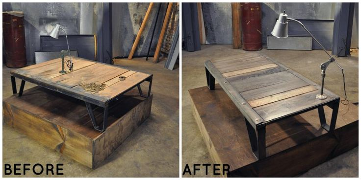 Don't be intimidated by an object's cold, factory-like appearance. Old wood and metal can make for a perfectly cozy addition to your living room or bedroom. Lara attached a light to this coffee table for added functionality.