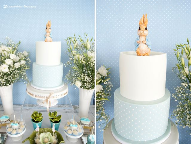 The cake for this Peter Rabbit themed baptism party