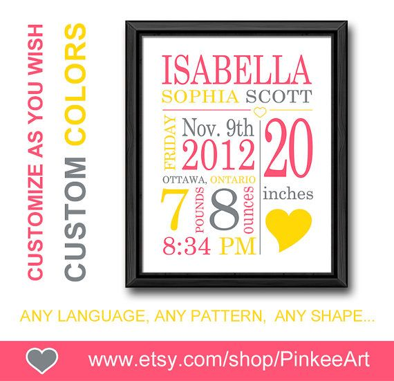 741 best my art prints birth stats baby announcement images on personalized baby gifts wall decor newborn birth announcement gift for new parents custom birth stats baby negle Gallery