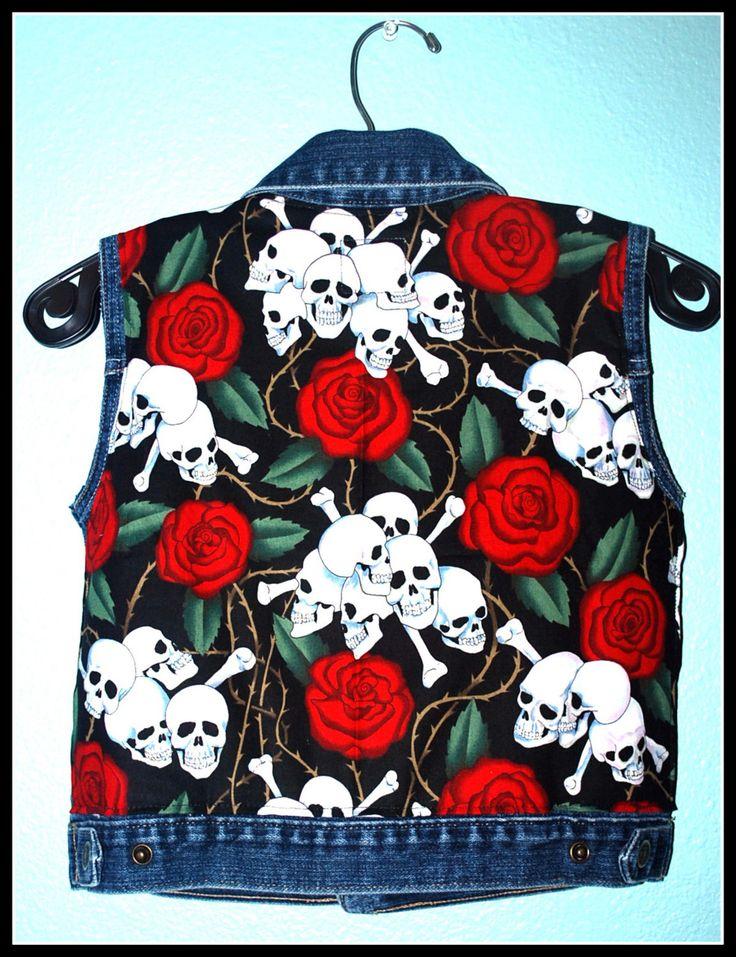 Boys Rockabilly Skulls n Roses Denim Vest....size 4 by DollfaceBettys on Etsy