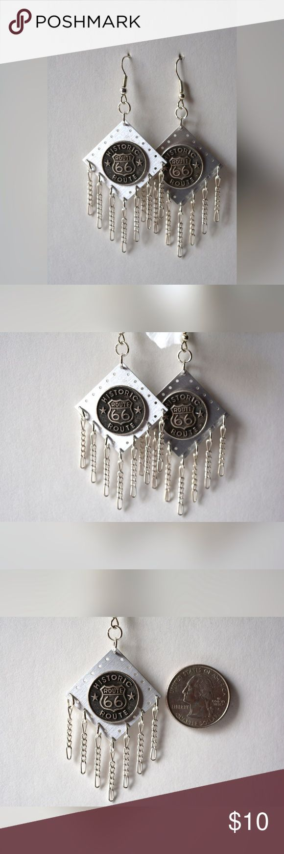 🆕 Route 66 Earrings Route 66 earrings with chain dangles. Handmade by me! Handmade by Me! Jewelry Earrings