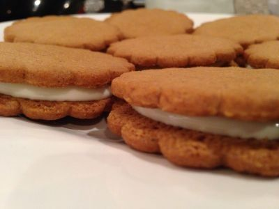 Ginger nut cookies sandwiched with whipped cream. Great for a quick dessert.