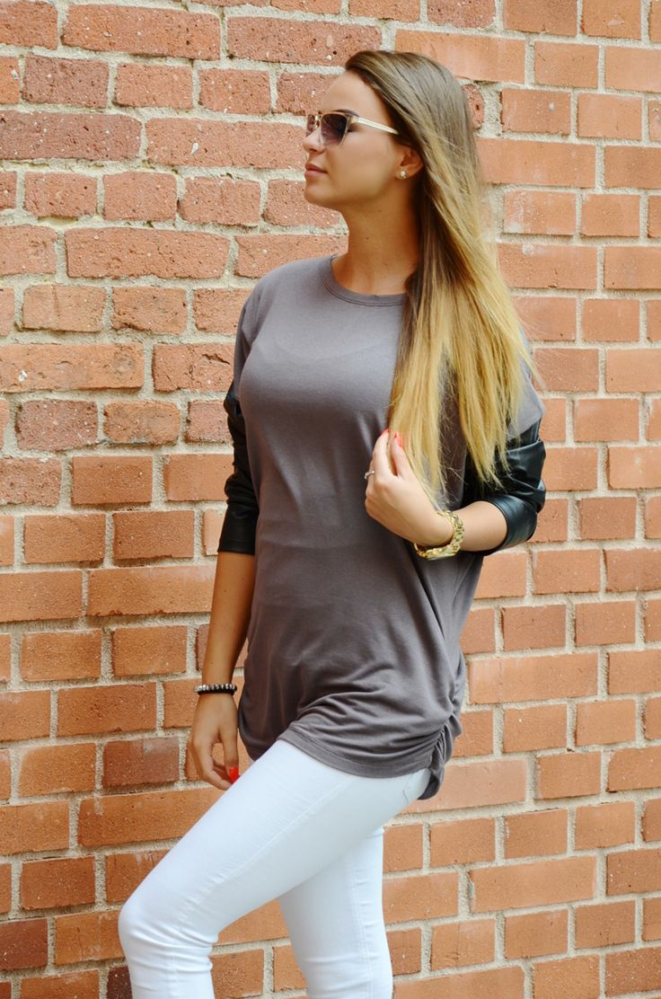 Blouse with eco-leather sleeves