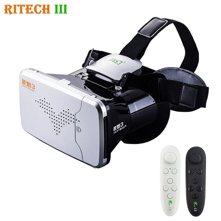 RITECH III VR Virtual Reality 3D Glasses Headset Head Mount Helmet Cardboard 360 Video for 4-6' Mobile Phone with vr controller